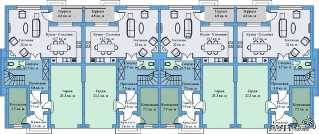 Схема размещения (1 этаж 3-х этажного таунхауса) .
