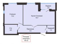 2-к квартира, 49.1 м², 9/16 эт.