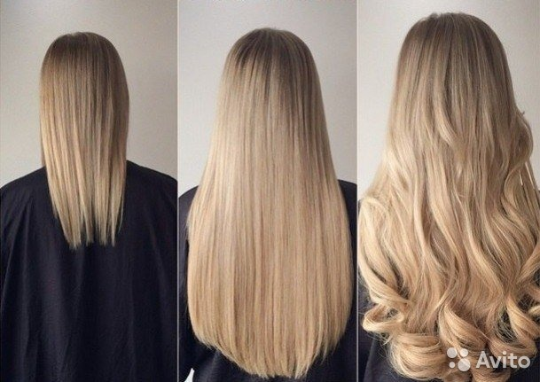 Волосы на заколках натуралное
