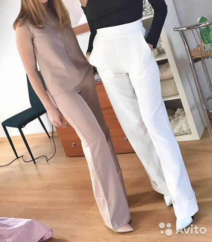 5ee02cdba82 Белые широкие брюки трубы