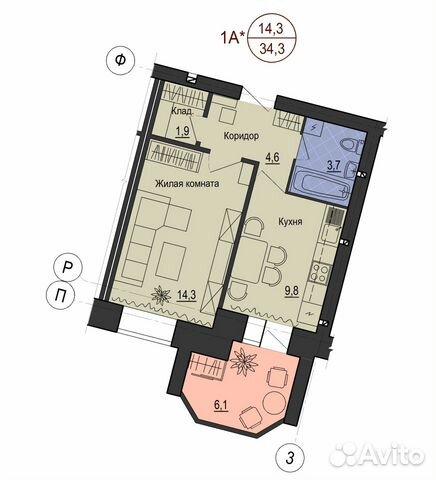 1-к квартира, 37.4 м², 3/9 эт. 89023839976 купить 1
