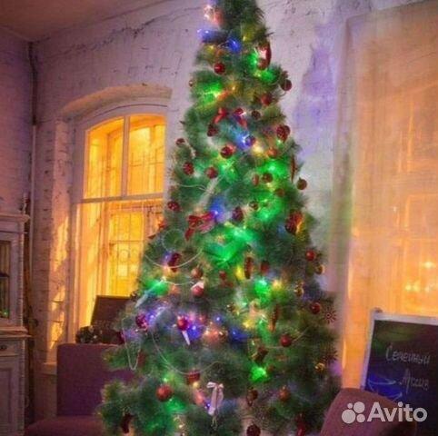Елка Искусственная 220 см Green Queen с LED огнями и шишками на ... | 480x482