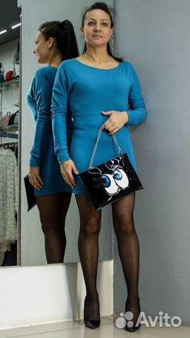 Платье-туника красивого синего цвета купить 3